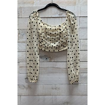 Polka Dot Mesh Top- Cream/Black