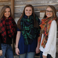Loryn Plaid Blanket Scarves