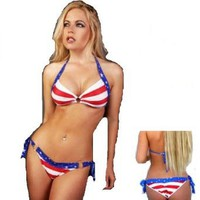 Amazon.com: Stars and Stripes Swimsuit with Side Ties and 3 Ring Scrunch Bikini Swimwear Size M/L: Clothing