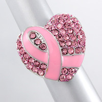 Pink Heart and Breast Cancer Ring