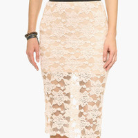 Ligh Pink Floral Lace Overlay Midi Skirt