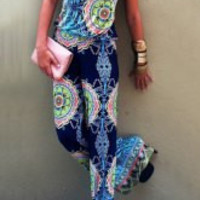 Strapless Sleeveless Ethnic Printed Exuma Jumpsuit