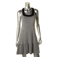 Nanette Lepore Womens Houndstooth Sleeveless Wear to Work Dress
