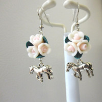 Horse White Pink Flower Earrings Western Silver Cowgirl Bling Jewelry