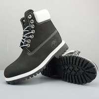 Timberland Leather Lace-Up Boot High Black White - Best Deal Online