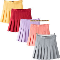 Summer Women's Fashion High Rise Dress Pleated Skirt [4920246596]