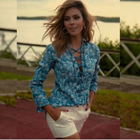 Blue Floral Print Long Sleeve Lace-up Casual Top