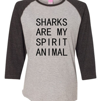 Sharks Are My Spirit Animal Shark LA T Shirt ladies Baseball Shark Jersey Quality Jersey Style