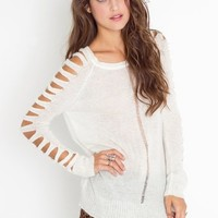 Slashed Sleeve Knit in  Clothes at Nasty Gal