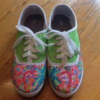 """Hand Painted Lilly Pulitzer Inspired Shoes """"Lulu Print"""""""