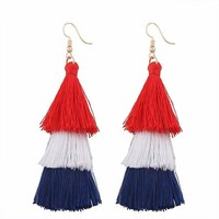 "3.50"" red white blue american flag tassel fringe earrings pierced patriotic"