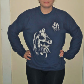 90s Dark Blue Horse Crewneck Sweatshirt 1990s Navy Blue Sweater