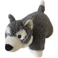 """Husky Zoopurr Pets 3-in-1 Stuffed Animal, Blanket, and Pillow Large 19"""" with Fleece Blanket"""