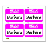 Barbara Hello My Name Is - Sheet of 4 Stickers
