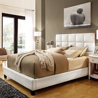 White Bonded Leather Panel Queen-sized Upholstered Bed Frame