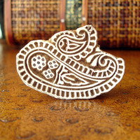Paisley Stamp: Indian Printing Block, Hand Carved Wood Block Stamp, Wooden Textile Stamp from India