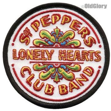 The Beatles - Round Sgt. Pepper's Lonely Hearts Club Band Drum Logo - Embroidered Iron On or Sew On Patch