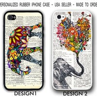 Elephant Vintage Newspaper CASE For iPhone 4 4S / 5 5S / 5C SAMSUNG Galaxy S3 S4