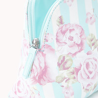 Striped Rose Midsize Cosmetic Pouch