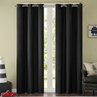 Solid Full Black Out Blinds Slide Fabric Window Curtain