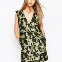 ASOS | ASOS Camo Shift Dress with Raw Edge at ASOS