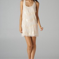 Beige Sleeveless Tunic Dress with Sequin V Stripes