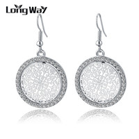 New Vintage Silver Earrings Fashion Design Big Crystal Drop Earrings For Women Bridal Wedding Statement Jewelry SER150015
