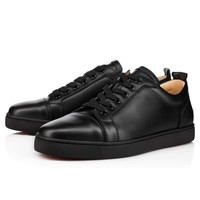 Sale Christian Louboutin Cl Louis Junior Men's Flat Black/black Leather Classic Shoes 1130548cm53