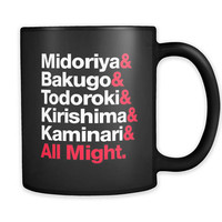 Boku no Hero Academia Inspired Mug - BNHA MHA Boys Cup - My Hero Academy Anime Manga - All Might Deku Bakugo Todoroki Kirishima Kaminari