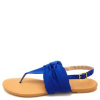 Knotted Chiffon Thong Sandals by Charlotte Russe - Cobalt