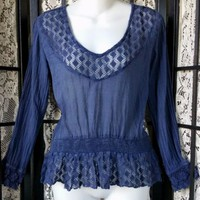 Anthropologie SOLITAIRE S Sheer Navy Crochet Raw Edge Lace Peasant Boho Top