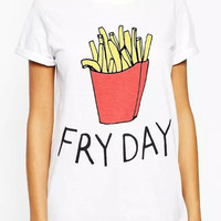 White Fry Day Print Short Sleeve Graphic Tee