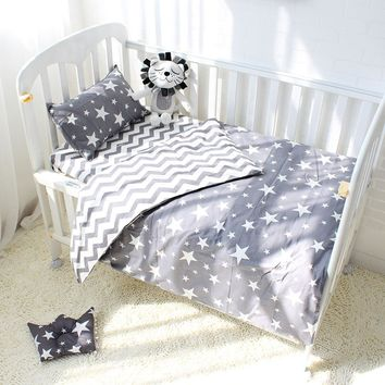 3Pcs Cotton Crib Bed Linen Kit Cartoon Baby Bedding Set Includes Pillowcase Bed Sheet Duvet Cover Without Filler