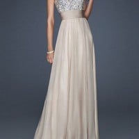 Gorgeous Long Nude Sequin Prom Dress 2013