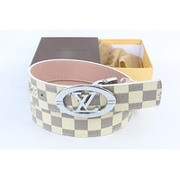 Louis Vuitton Woman Men Fashion Smooth Buckle Belt Leather Belt Skin Belts LV Beltt225