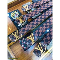 Inseva LV Louis Vuitton New fashion letter buckle tartan leather couple belt