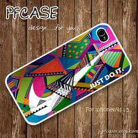 White Nike JUST DO IT with wonderful aztec pattern : Handmade Case for Iphone 4/4s , Iphone 5 Case Iphone