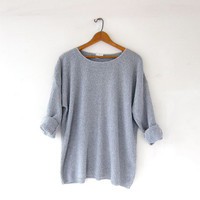 Vintage loose knit sweater. Slouchy gray sweater. Textured cotton pullover. Basic sweater.