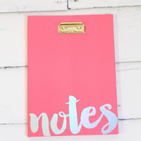 Neon Pink Notes Clipboard with Notepad Inside