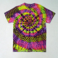 Medium Tie Dye Shirt Psychedelic Star- Pink Yellow Brown