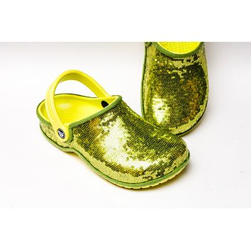 Lime Green Starlight Sequin Clogs