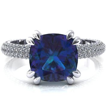 Elley Cushion Alexandrite 4 Claw Prong Diamond Accent Engagement Ring