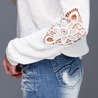 Crochet Panel Sweater Top - LoveCulture