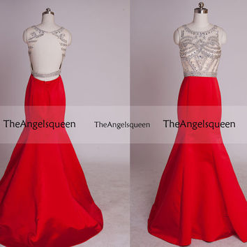 Red All Beads Open Back Mermaid Long Prom evening Gowns with Train,Bridesmaid dresses,senior dress,evening dresses,long prom dresses,prom dr