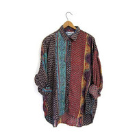 Vintage 90s boho hippie gypsy shirt. Ethnic festival tunic top. Tribal shirt. Patchwork print button up blouse. Loose fit shirt. Large