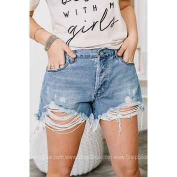 Staying Into It Distressed Denim Shorts