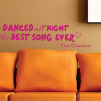 """Sale NEW ONE DIRECTION Song Vinyl wall decal - """"The best song ever"""" lyrics"""