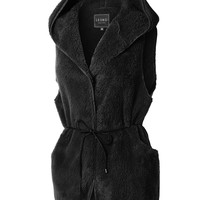 LE3NO Womens Oversized Soft Fleece Long Hoodie Vest with Pockets
