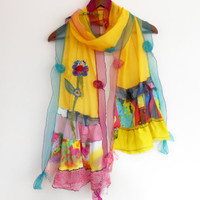 Yellow scarf, Multi-colored scarves, Designer accessories, Christmas gifts, Women's Fashion, Design shawl, Gift options, Natural linen scarf