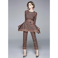 FENDI Hot Sale Women Casual F Letter Print Long Sleeve Top Pants Set Two Piece